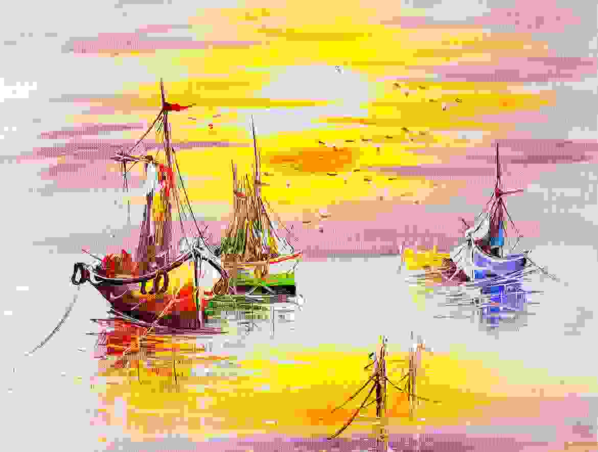 Sun set in a seashore with boats background