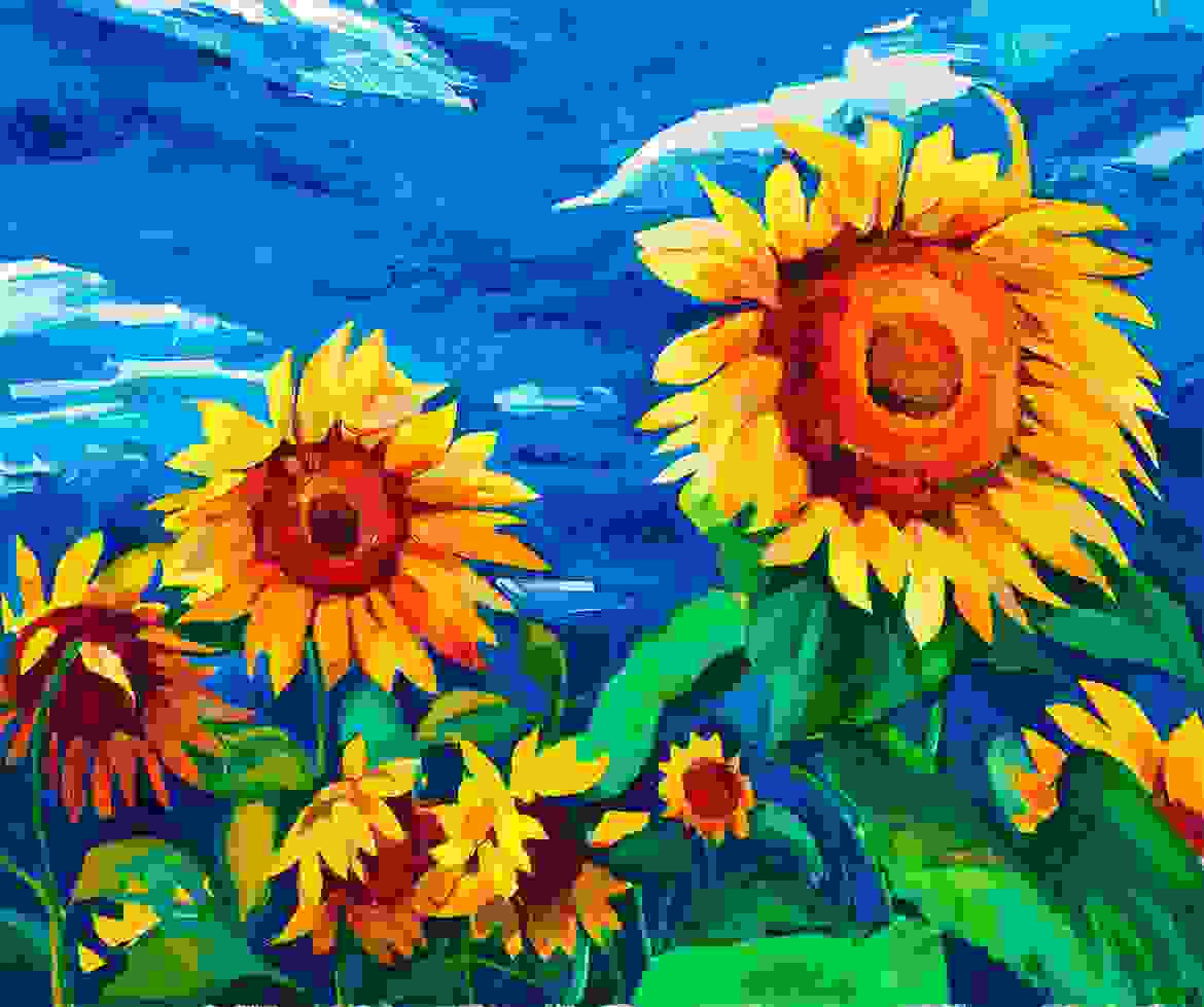 Abstract Sunflower painting by an artist